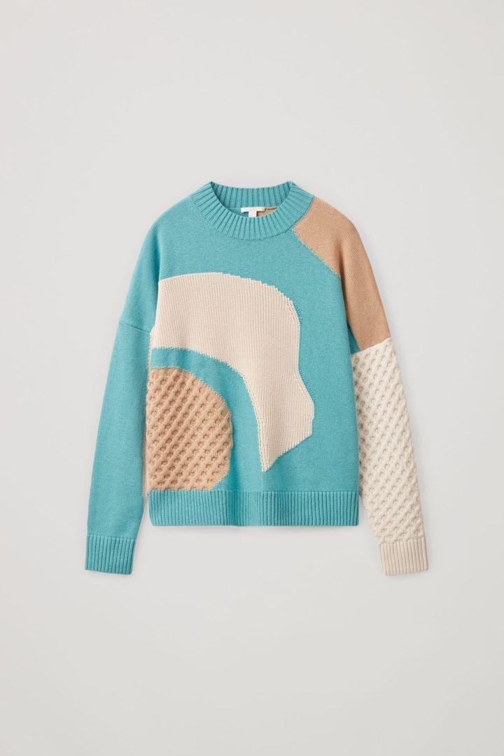 COS 컨트래스트 니트 스웨터의 터쿼이즈 / 베이지 / 화이트컬러 Product입니다.