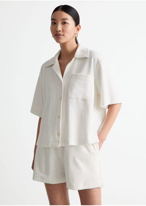 &OS image 0 of 화이트 in 박시 테리 셔츠
