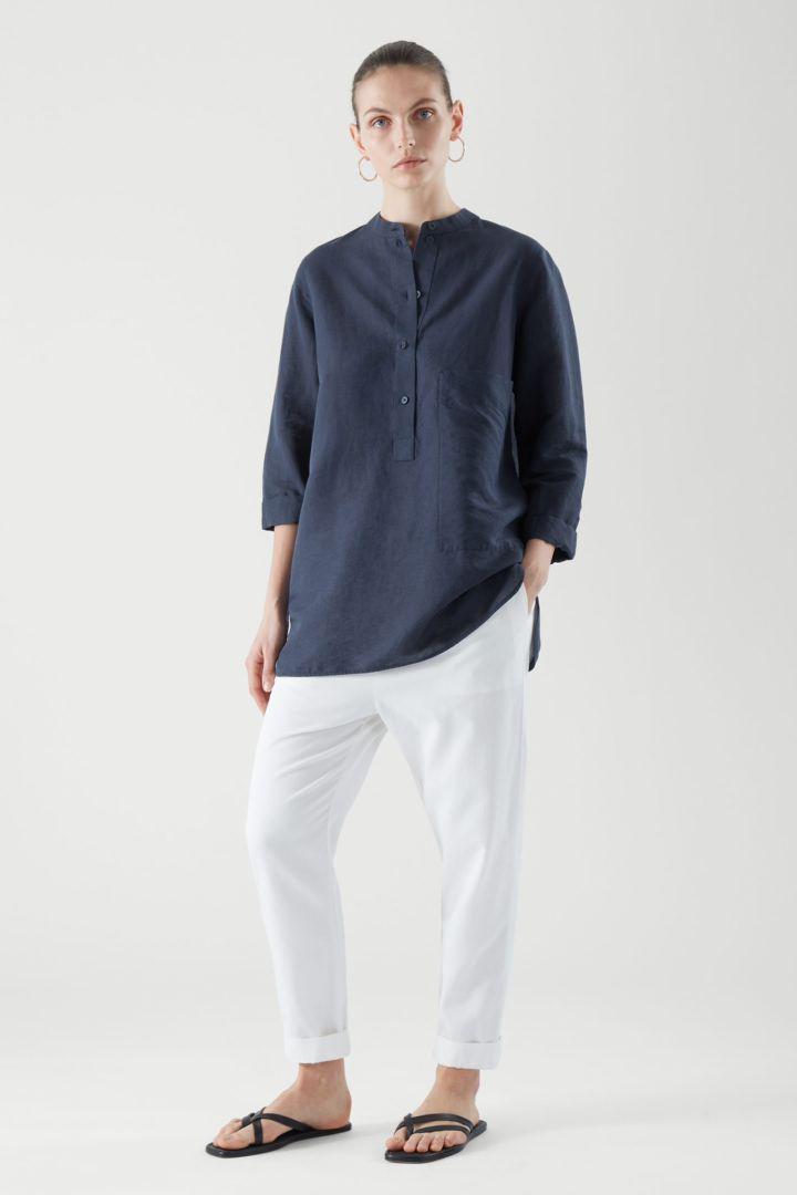 COS default image 5 of 블루 in 리넨 셔츠