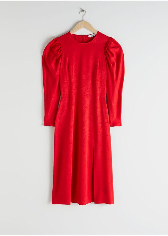&OS image 1 of 레드 in 자카드 퍼프 슬리브 미디 슬릿 드레스