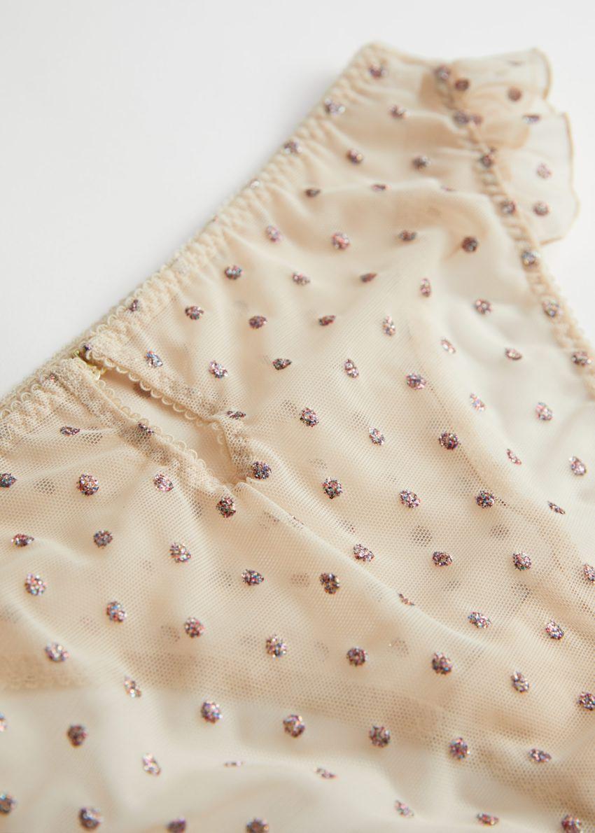 앤아더스토리즈 글리터 도트 러플 브리프의 핑크 도트컬러 Detail입니다.