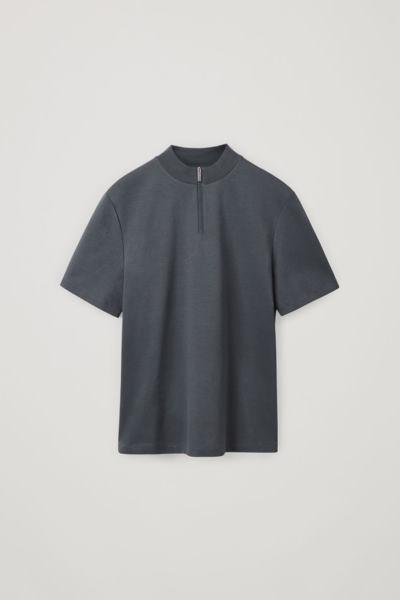 COS default image 8 of 그레이 in 집 모크 넥 티셔츠