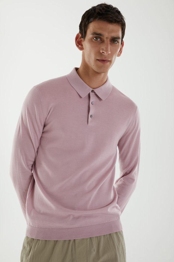 COS default image 4 of 핑크 in 롱 슬리브 메리노 폴로 셔츠