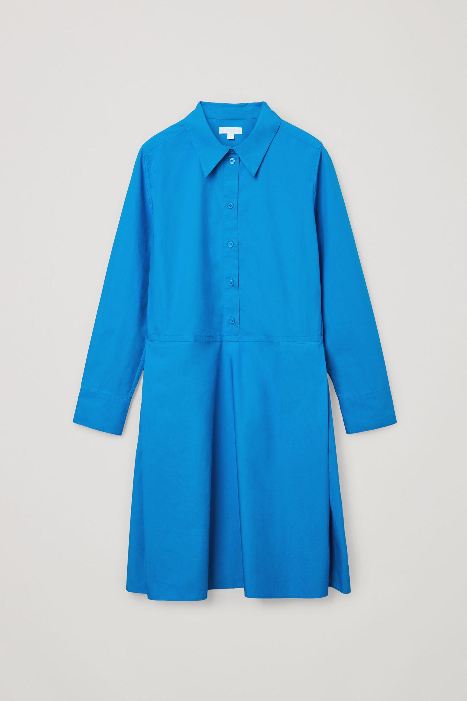 COS 플리츠 코튼 셔츠 드레스의 블루컬러 Product입니다.