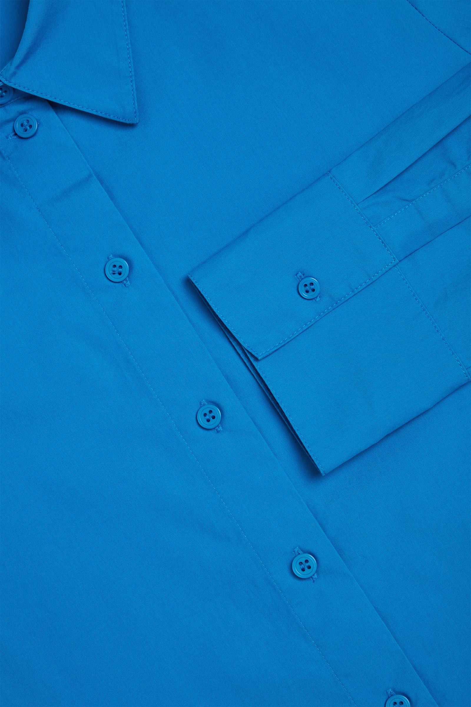 COS 플리츠 코튼 셔츠 드레스의 블루컬러 Detail입니다.