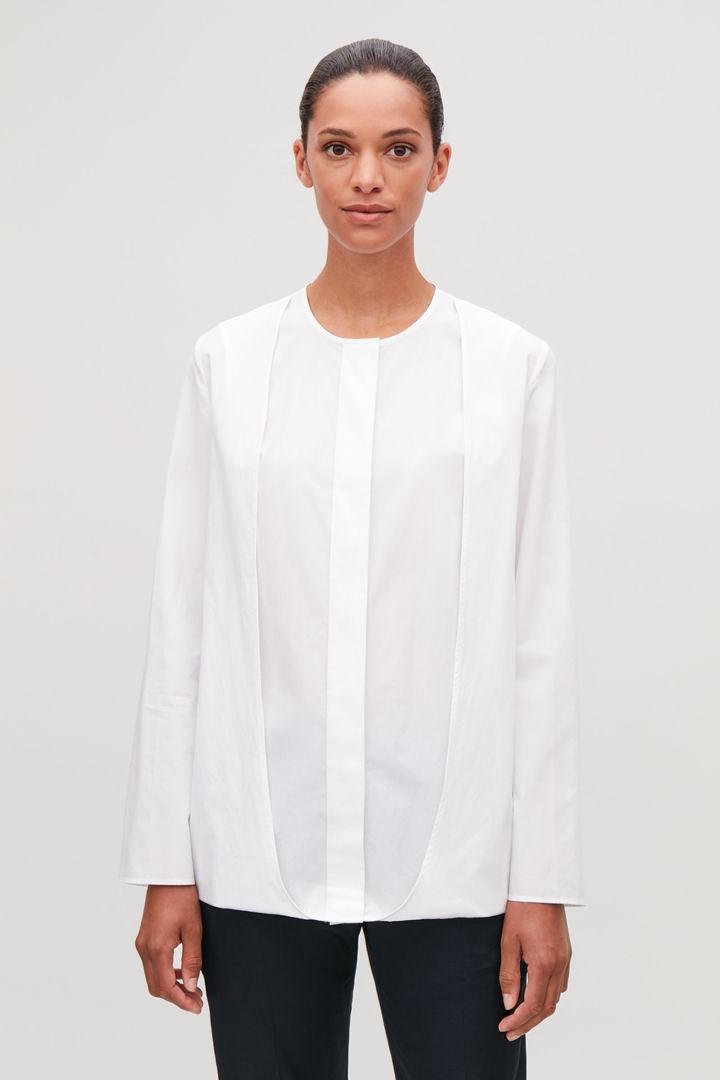 COS default image 2 of 화이트 in 더블 레이어 코튼 셔츠