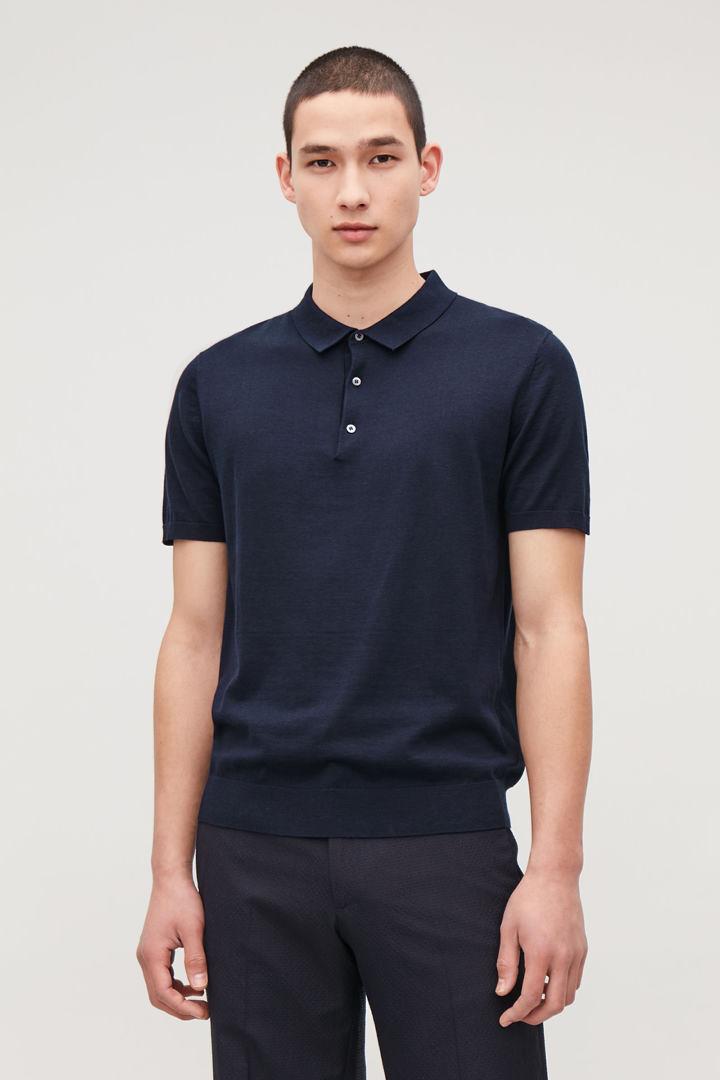 COS default image 8 of 블루 in 실크 코튼 폴로 셔츠