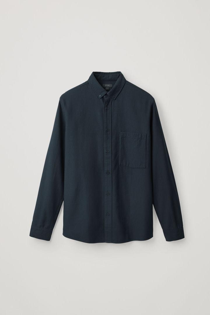 COS hover image 2 of 블루 in 버튼다운 코튼 라이오셀 셔츠
