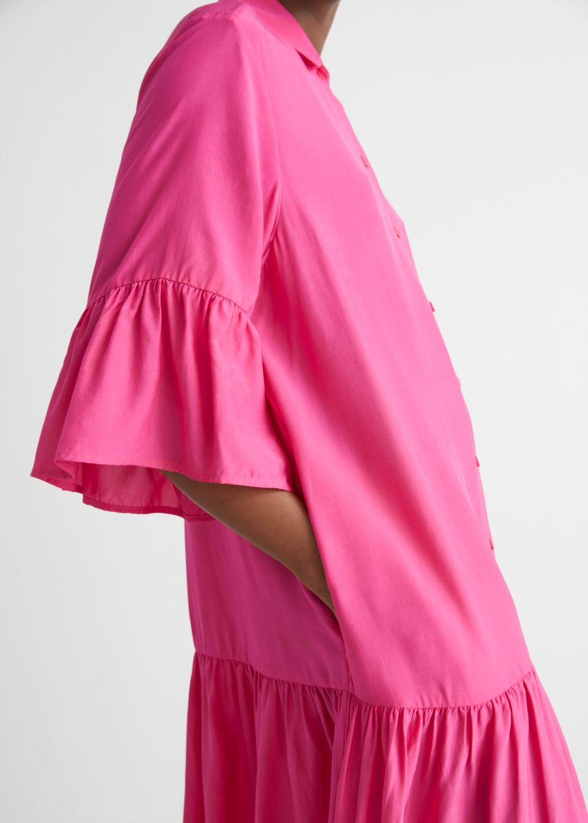 앤아더스토리즈 버튼 러플 미디 드레스의 핑크컬러 ECOMLook입니다.