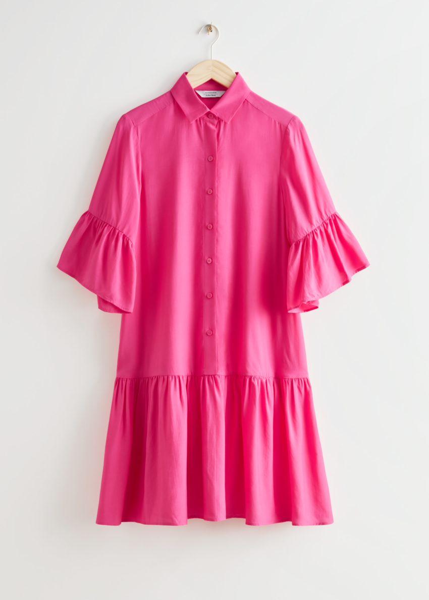 앤아더스토리즈 버튼 러플 미디 드레스의 핑크컬러 Product입니다.